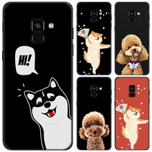 Cute Animal husky Poodle Phone case for Samsung Galaxy J4 J6 Plus J8 2018 Soft Silicone Black Case for Galaxy A6 A8 Plus 2018