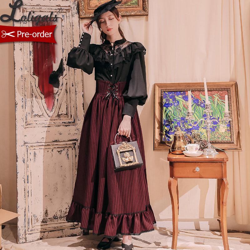 Custom Tailored Vintage Striped Women s Maxi Skirt Gothic Boned High Waist Skirt by Miss Point
