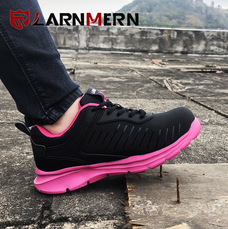 LARNMERN Women's Work Safety Shoes Steel Toe Breathable Lightweight Anti-smashing Anti-puncture Construction Protective Footwear 5