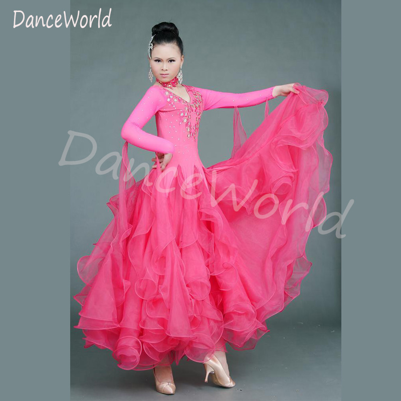 Ballroom Dance Dress 2018 new Adult Women Ballroom Waltz Tango Modern Dance Dresses One Piece Very Amazing Competition Dress