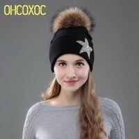 OHCOXOC New Women Beanies Real Mink Fur Pom Poms Ball Cap Keep Warm Beanies Skullies Star