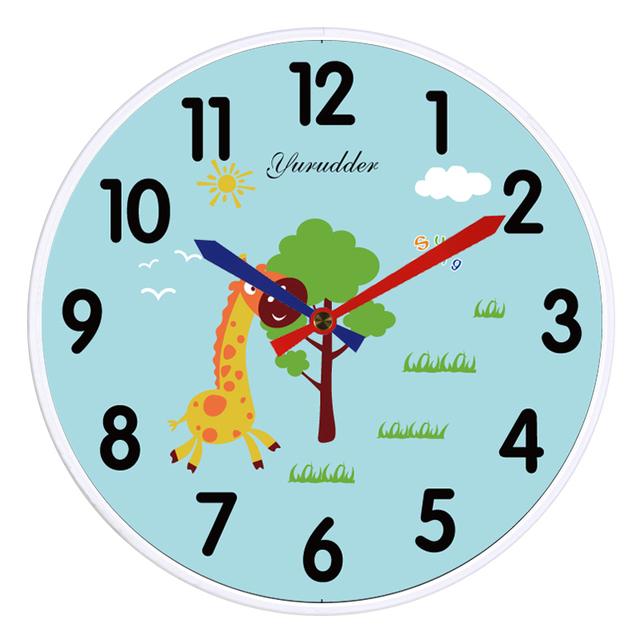 New Arrival No Frame MDF Wall Clock Animal Giraf Cartoon Design Fashion Wood Decorative DIY 28cm Children Room Wall clock