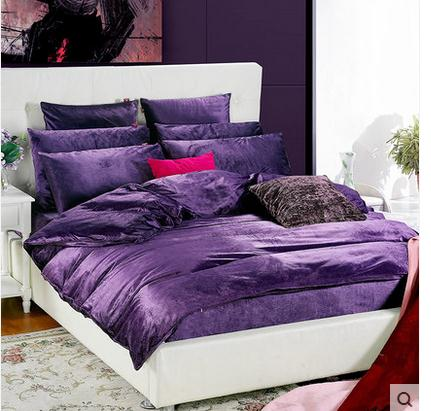 dc231891d663 Luxury Coral duvet cover queen super king Purple comforter sets fitted  sheet duvet covers bedding set for girls full size