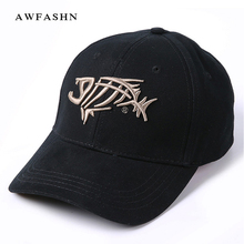 bffb82399aae4 2017 Fishing Cap Baseball Cap For Men Sunshade Sun Fish Bones Embroidered  Cap Fishing Hook High