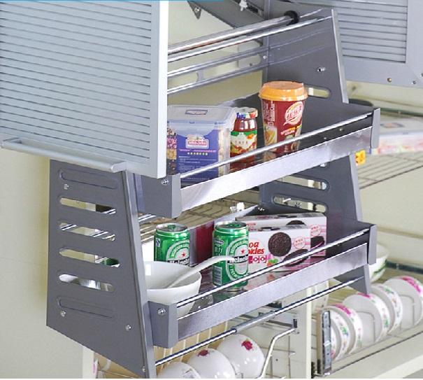 Kitchen Cabinet Pull Down Shelves Part - 19: 600mm Width Pull Down Shelf Shelves Tray 2 Tiers Kitchen Wall Cabinet,  Stainless Steel Trays
