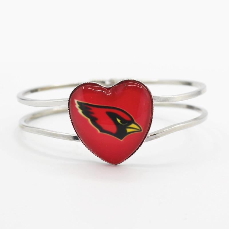 New Arrival 1pcs/lot Football Heart Alloy glass Arizona Cardinals Team Sports Bracelet charms Stretch bracelets for Woman