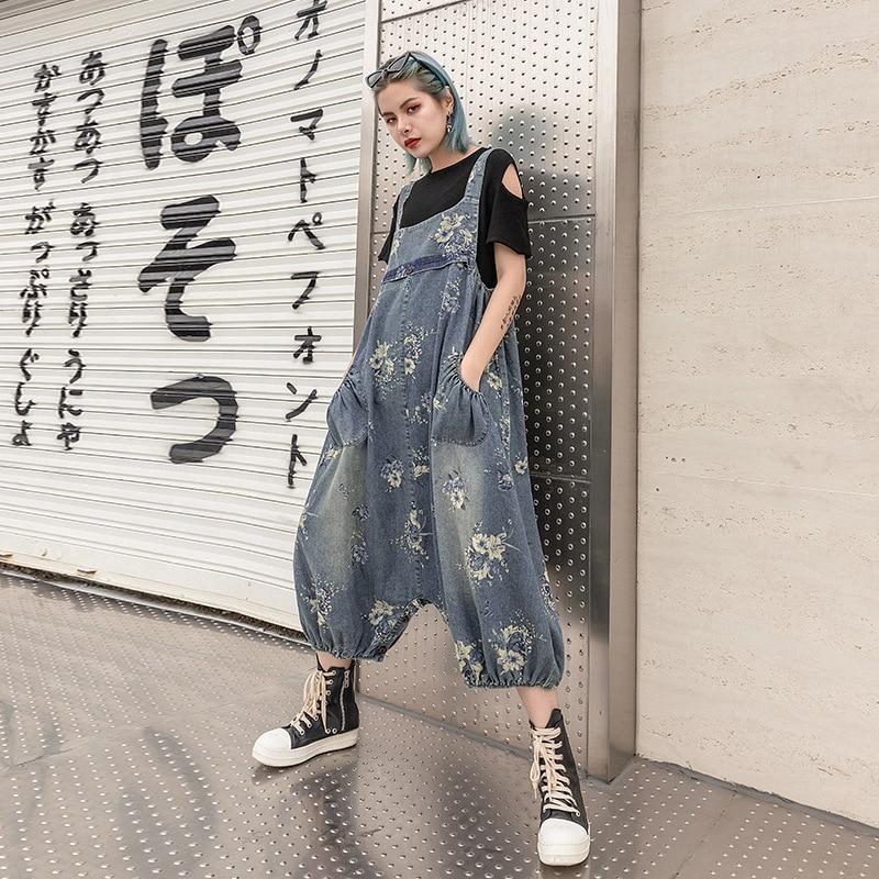 2019 Women Wide Leg Denim Overalls Casual Loose Plus Size Jumpsuit Retro Streetwear Pants Jeans Jumpsuits For Ladies