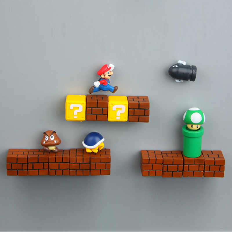 Super Mario DIY Frigorífico Ímã de Geladeira TV FC Jogo Infância Japão Jogo Dos Desenhos Animados Dos Desenhos Animados 3D Caixa de Gelo Geladeira Adesivo Paster