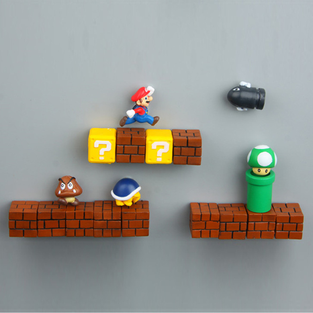 Super Mario DIY lodówka lodówka magnes telewizor z dostępem do kanałów FC gry z dzieciństwa japonia Cartoon do gier Cartoon 3D pojemnik na lód Paster lodówki naklejki