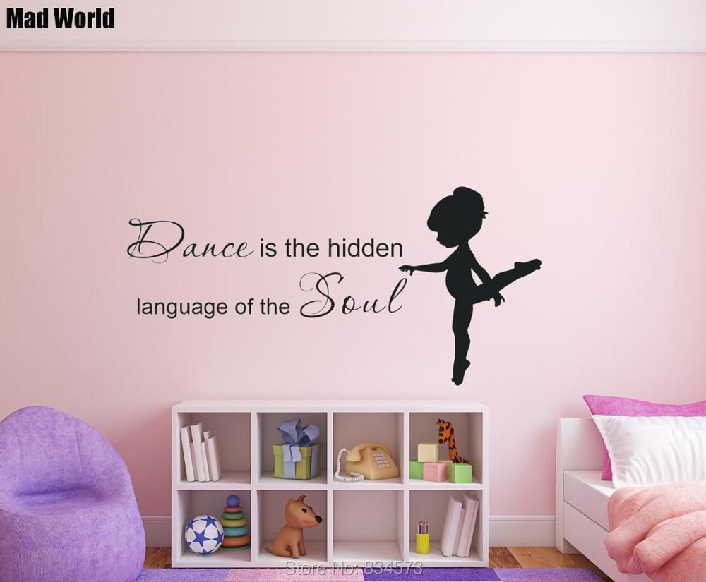 Girl Dance Is <font><b>The</b></font> <font><b>Hidden</b></font> Language of <font><b>The</b></font> Soul Wall Art Stickers Wall Decal Home DIY Decoration Removable Decor Wall Stickers
