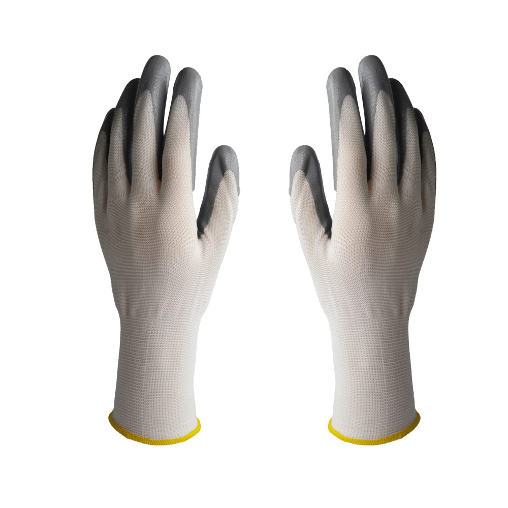 Oil Free Comfortable Cheap Nitrile Gloves White Nylon Knitted Hands Protection Gloves White, Mechanic, Construction, Industry, 3 sizes high quality 100pcs a lot extra strong medical purple powder free nitrile disposable gloves click butyronitrile color
