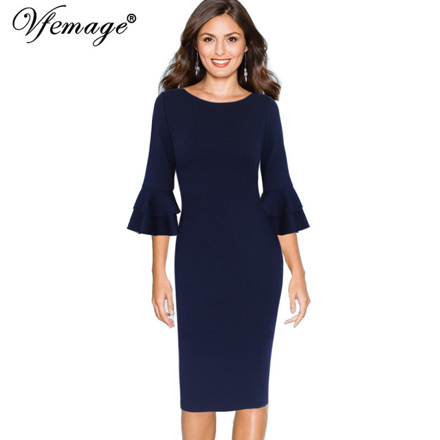 Vfemage Women Autumn Elegant Flare Bell 3/4 Sleeve Vintage Wear To Work Office Business Cocktail Party Bodycon Pencil Dress 8155