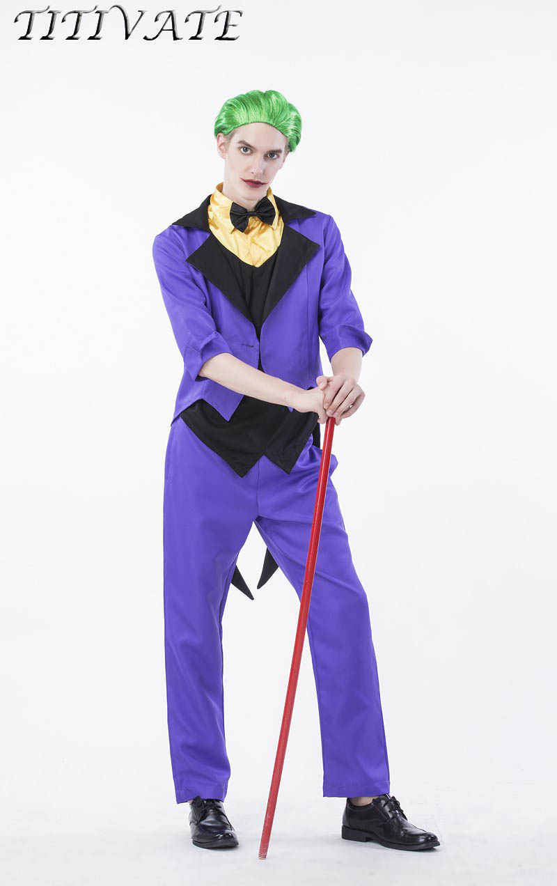 TITIVATE Halloween Costume Clown Costumes Magic Show Clothing Carnival Party Cosplay Masquerade Outfit M L XL For Adult Men