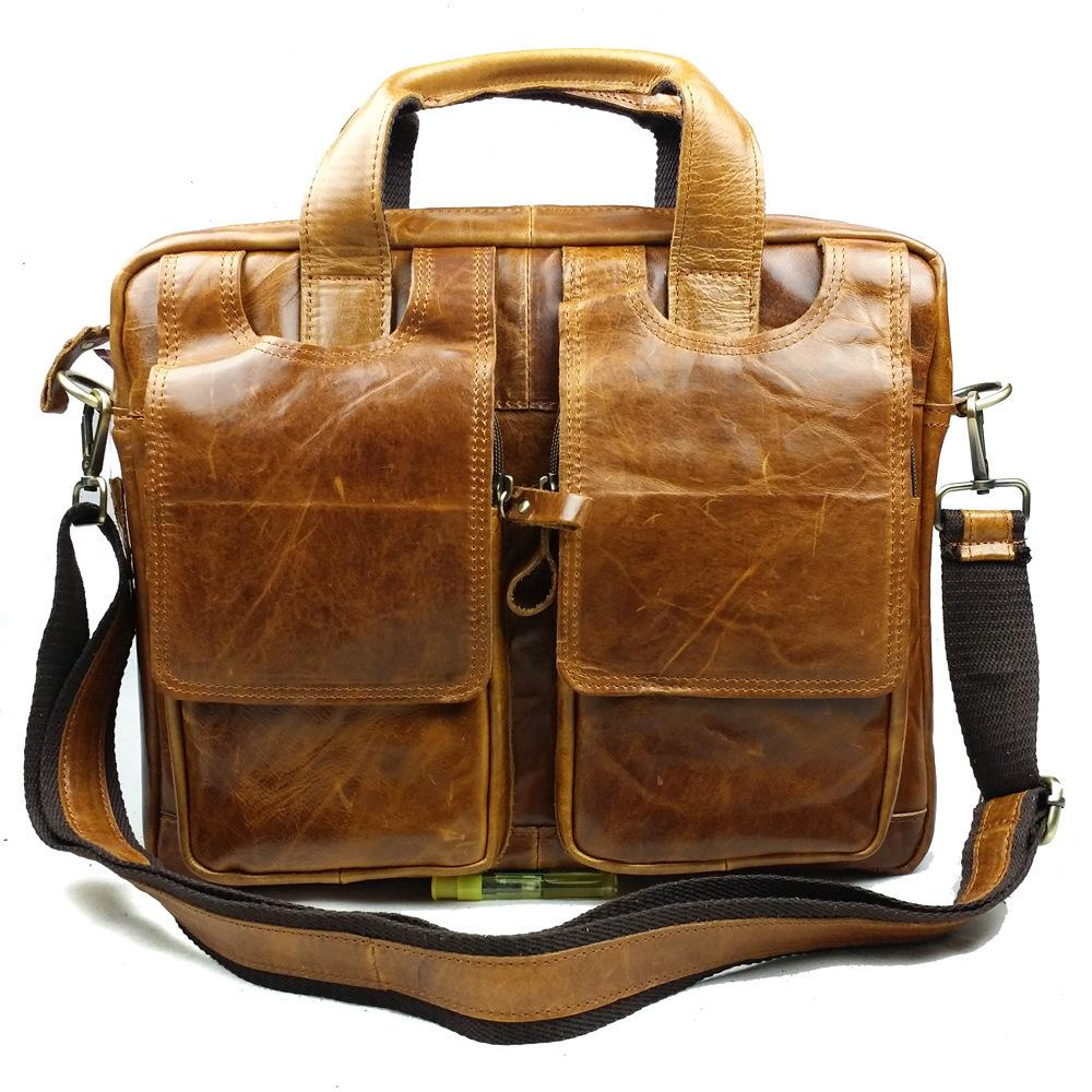 Genuine Leather Business Briefcases Mens Tote Work Bag Luxury Laptop Men Travel Bags Porta Doentos Shoulder In Crossbody From