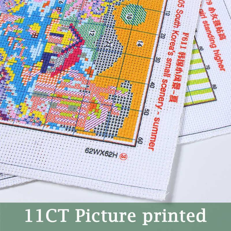 Dlicious чайный торт 11CT печатная ткань 14CT холст DMC Счетный Китайский Набор для вышивки крестом Набор вышивки рукоделие
