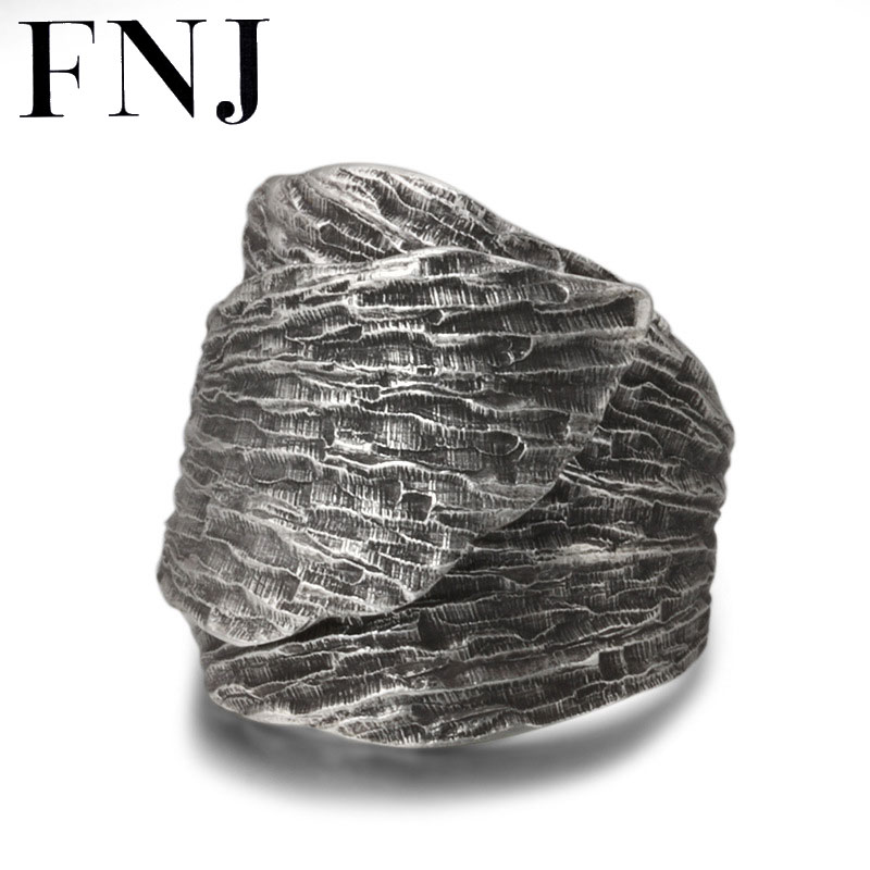 FNJ Leaf Ring 925 Silver Jewelry New Fashion S925 Sterling Silver Rings for Men Women Adjustable