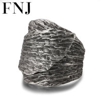 FNJ Leaf Ring 925 Silver Jewelry New Fashion S925 Sterling Silver Rings for Men Women Adjustable Size 7.5 10 bague