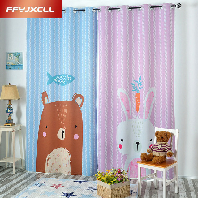 Korean Childrenu0027s Cartoon Bear Rabbits Cloth Blackout Curtains For Living  Room Window Curtains For Bedroom Kitchen