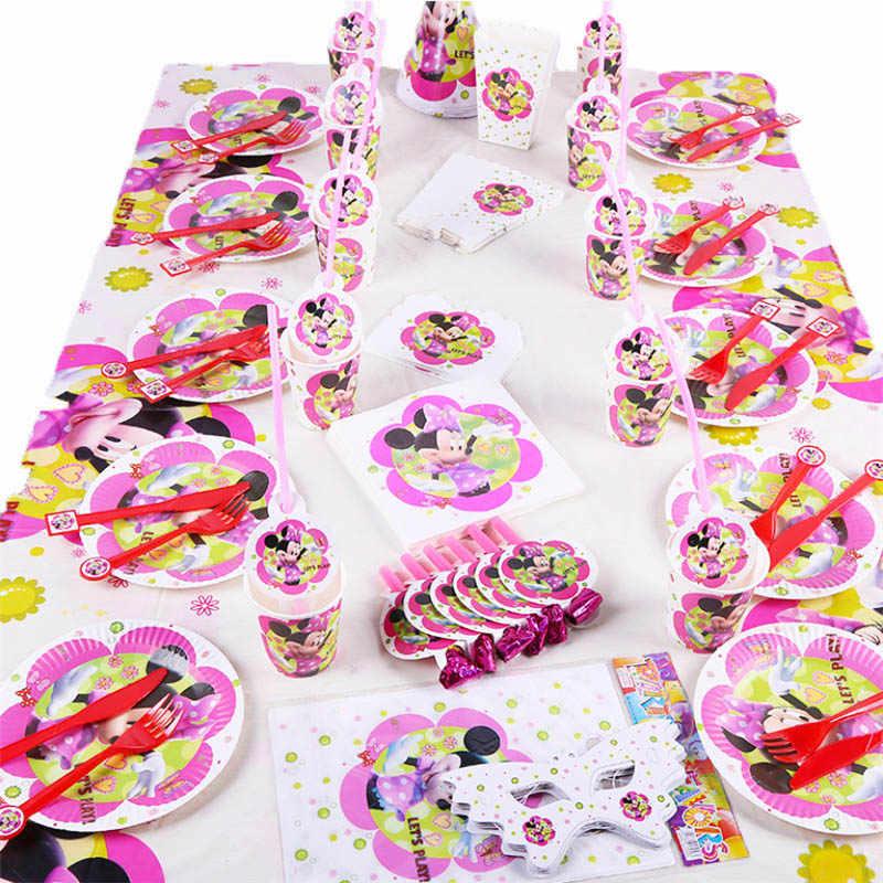 Minnie Mouse Theme วันเกิดตกแต่งพรรคสำหรับสาวเด็กของขวัญ Disposable Tableware ชุดวันเกิด PARTY Supplies