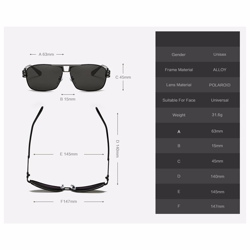 Roupai Polarized Super Cool Military Glasses For Police Driving Mens Square Anti Glare Sunglasses UV400 377 (3)