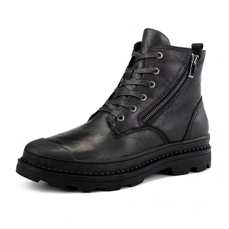 4687a243a2 black Genuino Felpa Cloth Black Cuero Botines Más Fur brown De Tamaño  Calientes Moda Con Lebaluka La Hombres ...