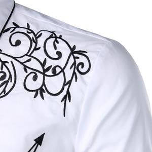 Image 5 - Mens Occidentale Cowboy Camicia Alla Moda Ricamato Slim Fit Manica Lunga Del Partito di Camicette Degli Uomini di Disegno di Marca Banchetto Pulsante Imbottiture Camicia Maschile
