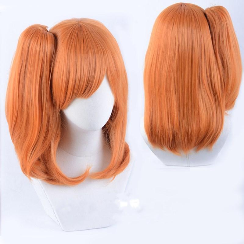 LoveLive ! Kousaka Honoka Orange Cosplay Wig Base Wig+ Ponytail Halloween Role Play Styled Hair