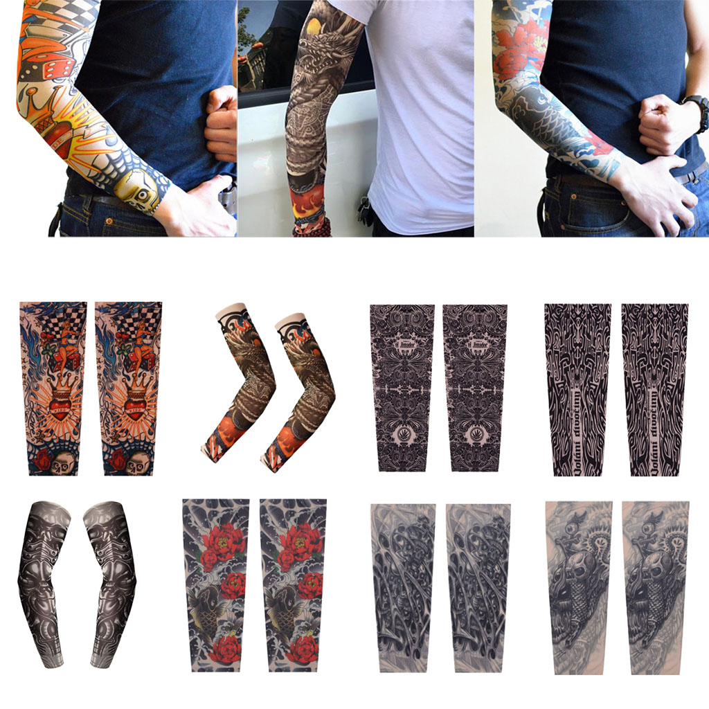 1 Pair Cycling Fake Tattoo Arm Sunscreen Sleeves Sun Protection For Cycling Hiking Running Fshing Climbing Outdoor Activities