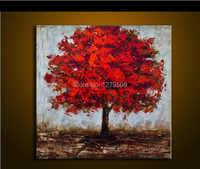 Moderna Handmade Dipinti Floreali 1 Pannello Immagini di Arte Della Parete Dipinta A Mano Astratta Fiore Rosso Olio Su Tela Home Decor