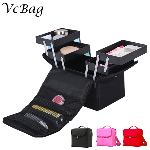 Large Black Nylon Makeup suitcase Professional Cosmetic Case Travel Storage Bag Box Travel Vanity Trolley Beauty Organizer