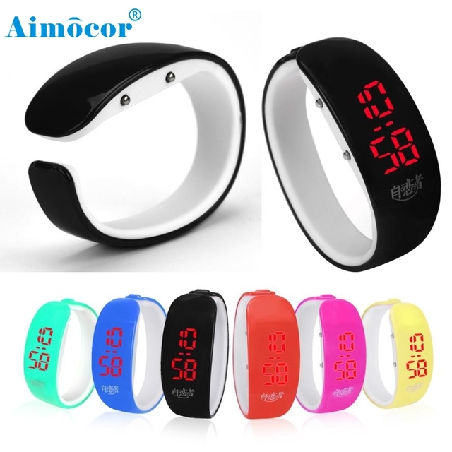 2017 Newly Designed Fashion Women Rubber LED Watch Date Sports Bracelet Digital