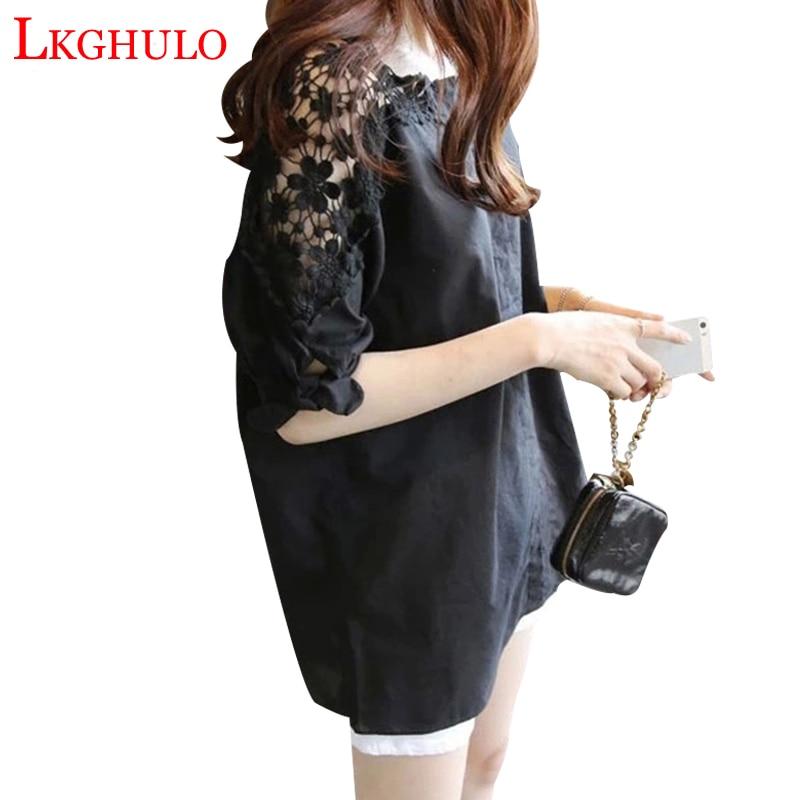 LKGHULO 2018 femmes vêtements Blouse dentelle Crochet femme chemises coréennes dames haut Blouse chemise blanc noir Blouses hauts W89