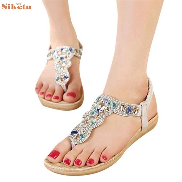 De alta qualidade Da Forma das Mulheres Doce Flats Frisado Clipe Toe Flats Boêmio Espinha de Peixe Sandálias Sapatos de Praia