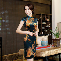 2019 New Velvet Cheongsam Short Sleeve Chinese Traditional Dress Wedding Party Dresses For Women Oriental Clothing Ladies DN3016