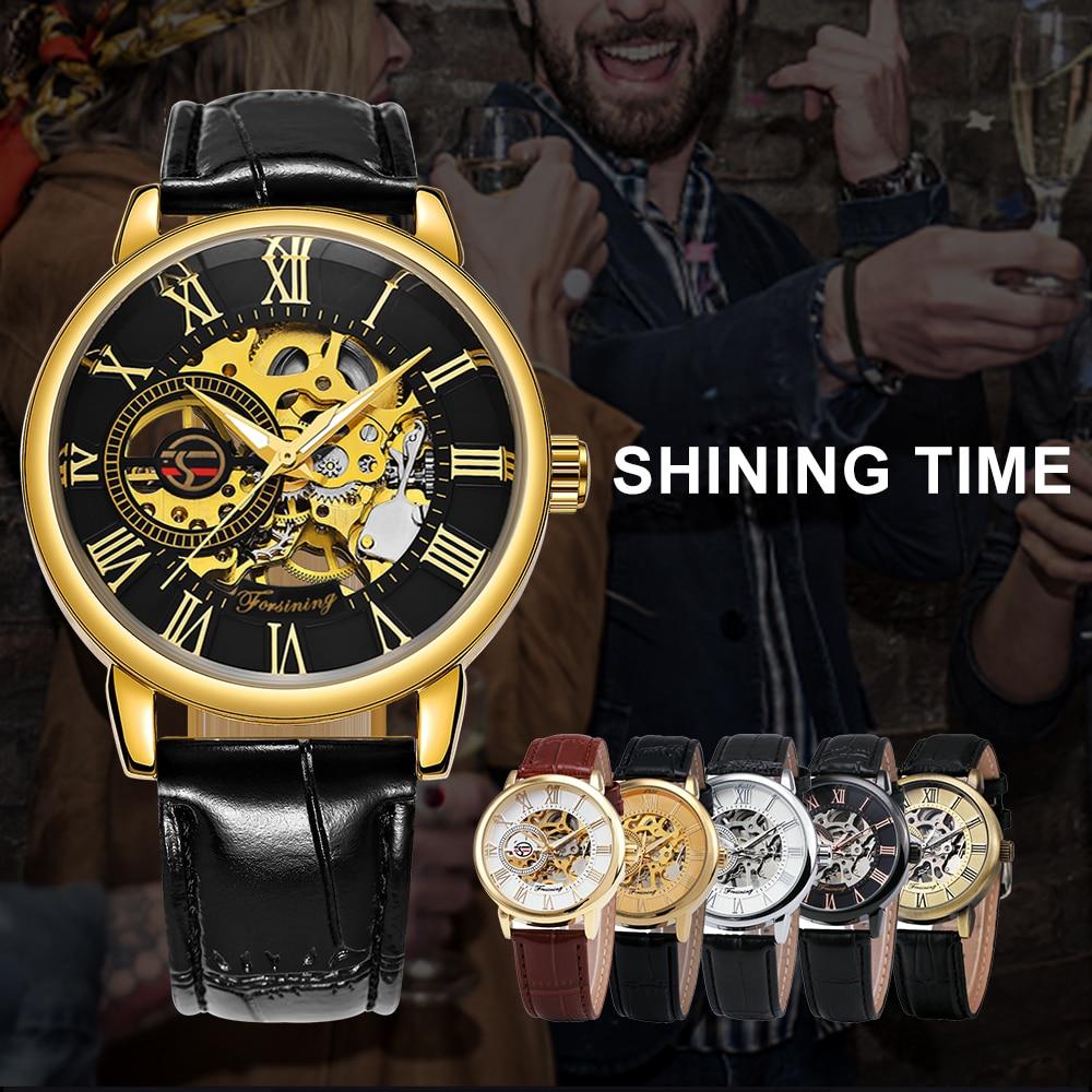 HTB1 Sl8aEGF3KVjSZFoq6zmpFXa1 2019 FORSINING 3D Logo Black Gold Men Mechanical Watch Montre Homme Man Watches Top Brand Luxury Leather WINNER Skeleton Design