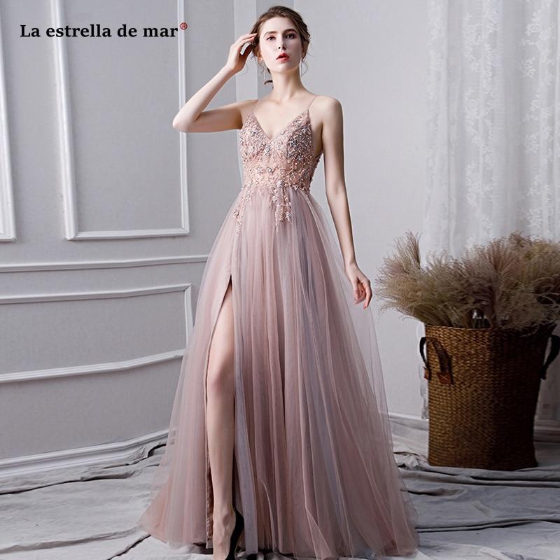 Robe Demoiselle D'honneur New Tulle Crystal Sexy V Neck Thin Shoulder Strap High Split Bohemian Blush Wedding Party Dress Traili