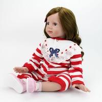 60cm Vinyl Reborn Toddler Baby Doll Toys 23 inch Lifelike Silicone girl dolls Princess Babies Birthday Present Girls Play House