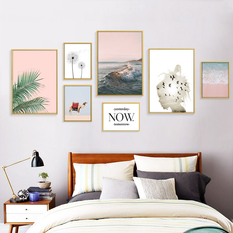 Desert Nordic Abstract Painting Birds Girl Posters And Prints Beach Poster Canvas Art Pink Sea Leaf Wall Painting Plant Unframed