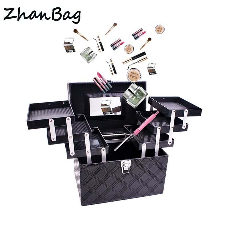 Women Folding Layer Professional Makeup Case Large Capacity Suitcase for Cosmetic Top Quality Travel Makeup Artist Organizer Box