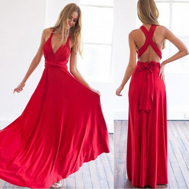 810e7ed695 US $8.39 21% OFF|Sexy Women Multiway Wrap Convertible Boho Maxi Club Red  Dress Bandage Long Dress Party Bridesmaids Infinity Robe Longue Femme W6-in  ...