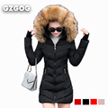 Winter Womans Jacket Women Big Fur Collar Hooded Coat Thick Warm Wadded Parka Slim long Coat Female Outwear Slim Quilted Jacket