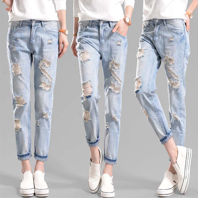 Bottoms Women's Clothing Hearty Women Boy Friend Jeans With Holes Elasitc Waist Straight Denim Girls Ankle Length Ripped Jeans For Women Plus Size