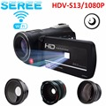Seree LED Fill Lights Portable 24.0 MP 3.0 Screen DV Camera Full HD Camcorder Digital Video Recorder 16X Zoom IRNight Vision Cam
