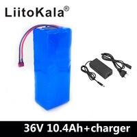 Liitokala 36 v 10.4ah bateria de bicicleta elétrica construída em 20a bms bateria de lítio 36 volts com 2a carga ebike bateria Pacotes de bateria     -