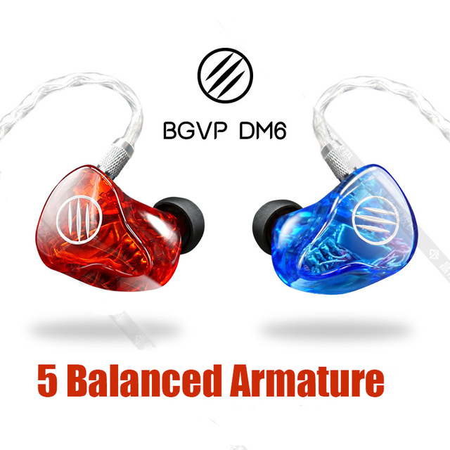 BGVP DM6 5 Drivers Balanced Armature 5BA Heavy Bass HiFi Audiophile Monitor DJ Studio Stereo MP3 In-ear Earphone Earbuds