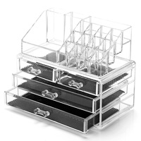 Clear Desk Storage Boxes Acrylic Makeup Organization Big Capacity Cosmetic Storage Boxes Cases Desk Makeup Jewelry Organization
