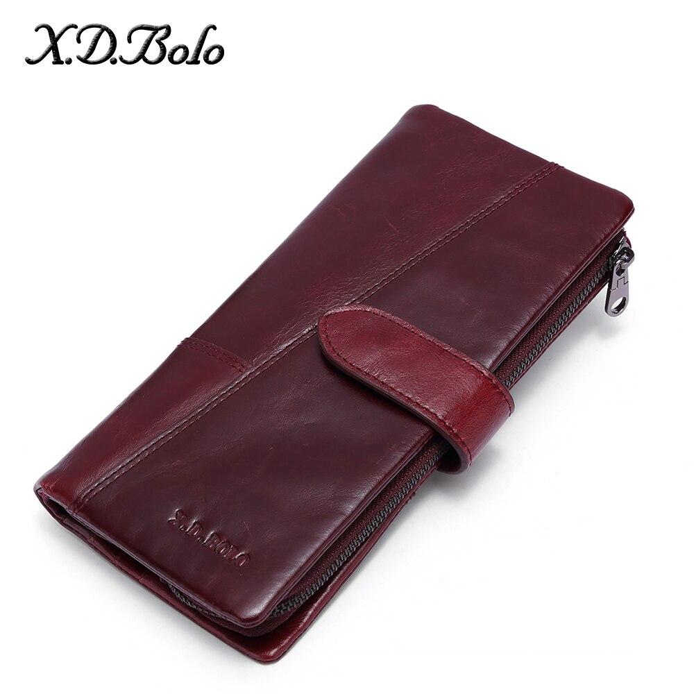 X. d. bolo bolsas femininas zíper longo 100% couro genuíno senhoras sacos de embreagem com titular do telefone celular alta qualidade titular do cartão carteira