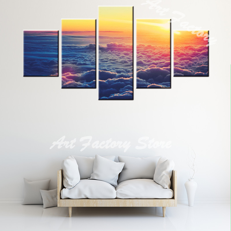 polychrome colorful sky cloud 5 pieces canvas painting 19294 | polychrome colorful sky cloud 5 pieces canvas painting modern picture home decorative wall art craft for