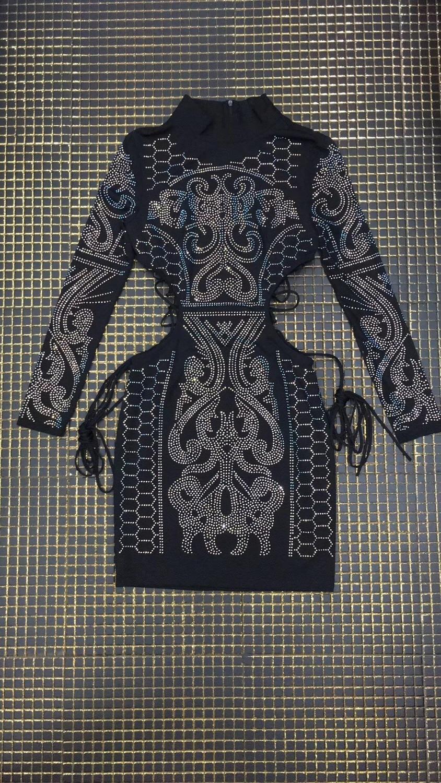 Hiver Laçage Robes Robe Bandage Dress 2018 De Mode Diamants Creux Dames Party Noir Designer Femmes Out BaZnvwqxrB