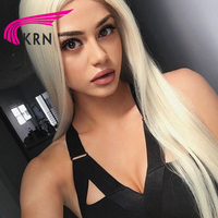 KRN #613 Glueless Lace Front Human hair Wigs With Baby Hair 130 Density Straight Blond Remy Hair Brazilian Lace Wigs Full End